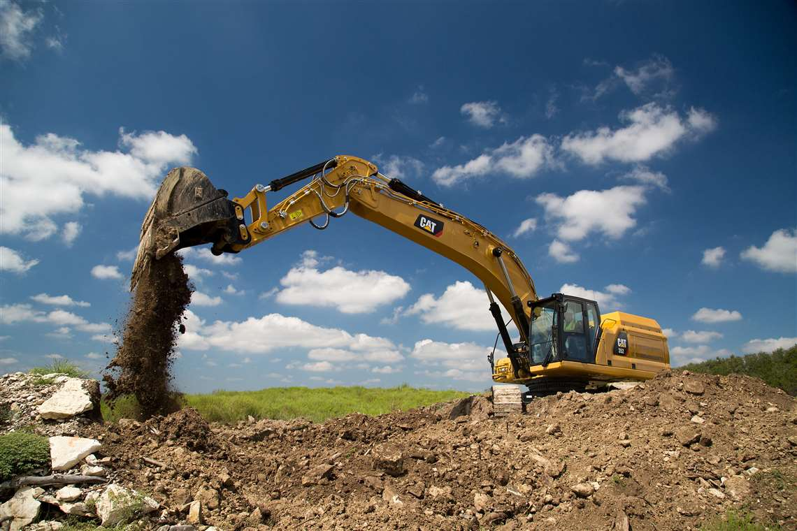 The Cat 352 excavator in action