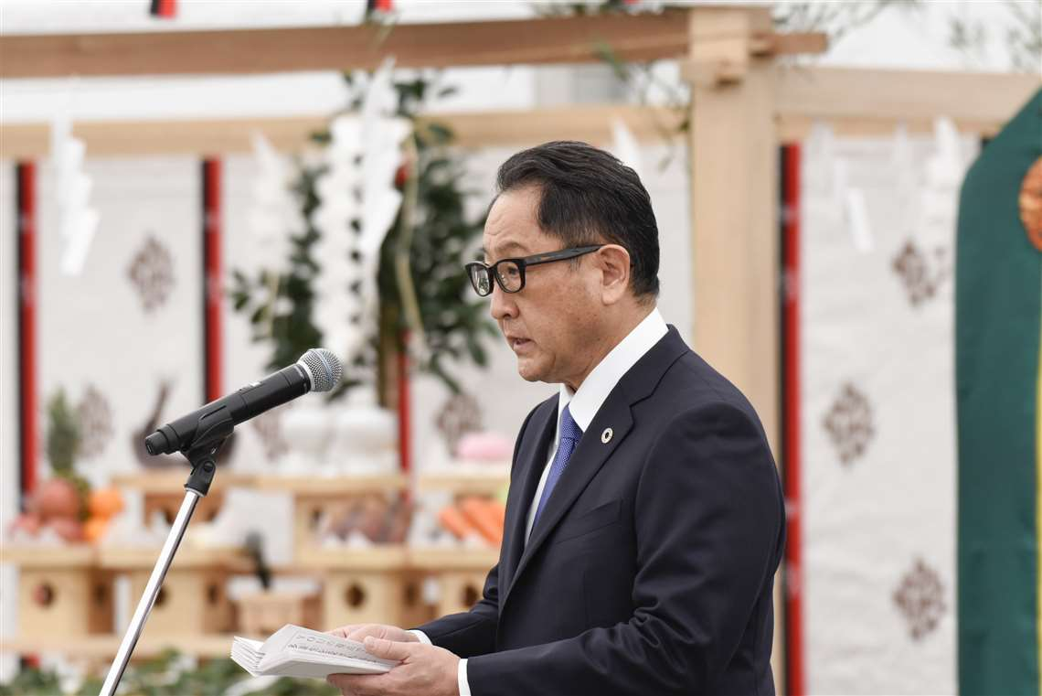 Akio Toyoda at the Woven City ground breaking ceremony in Japan