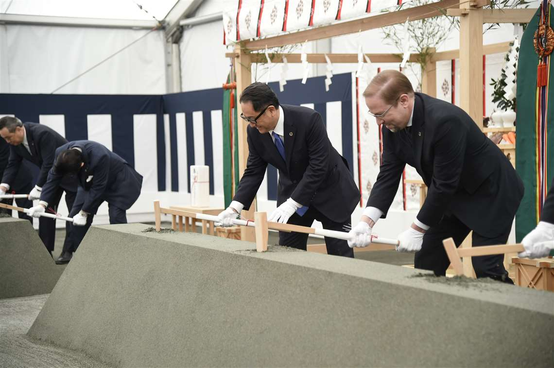 Toyota and Woven Plant's Woven City ground breaking ceremony in Japan